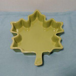 Chantal Ceramic Baking Dish Green Maple Leaf 1 Qt.